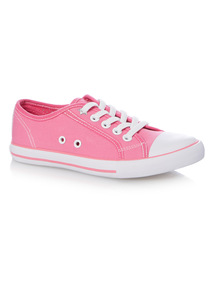 Girls Pink Canvas Lace Up
