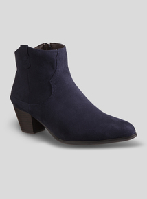 78359ce9931 Navy Faux Suede Western Ankle Boot