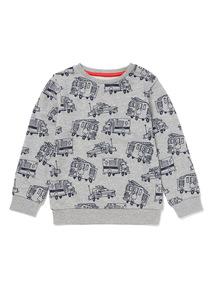 Grey Fire Engine Print Sweatshirt (9 months-6 years)