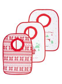 Kids Red Christmas Bibs 3 Pack