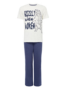 Navy 'Grizzly When Woken' Slogan Pyjama Set