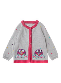 Girls Grey Owl Spot Cardigan (0-24 months)