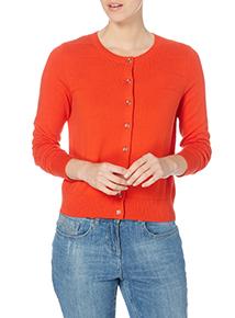 Orange Ripple Yoke Cardigan