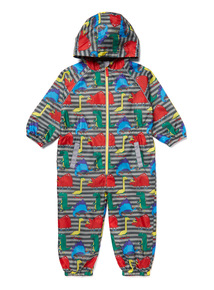 Multicoloured Dino Print Puddlesuit (9 Months- 5 Years)