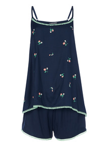Navy Embroidered Shortie Set