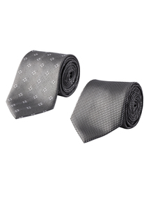 Grey Patterned Ties Set of 2