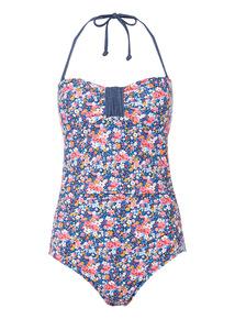 Floral Denim Swimsuit