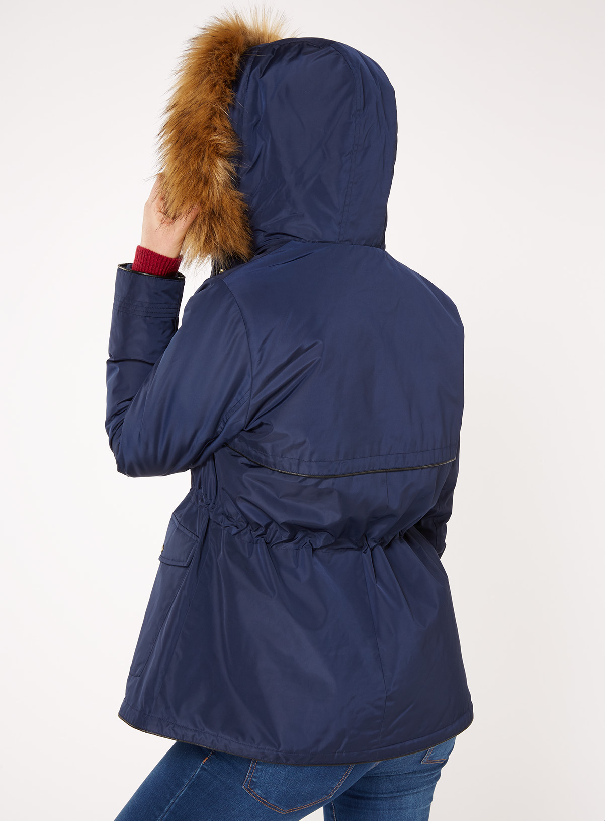 Womens Navy Short Parka Coat | Tu clothing