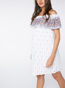 Stripe Embroidered Bardot Dress
