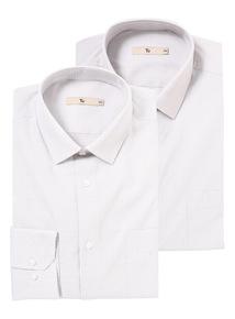 Grey Easy Iron Check Shirt 2 Pack