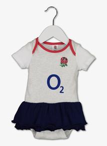 England Rugby White & Grey 'O2' Logo Tutu Bodysuit (0-18 months)