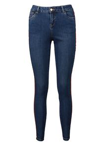 Mid Denim Side Stripe Skinny Jeans