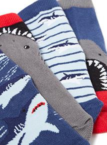 5 pack Multicoloured Shark Socks