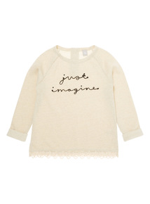 Girls Cream Just Imagine Sweat Top (3-12 years)