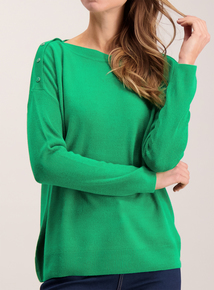 Green Soft Touch Button Shoulder Jumper