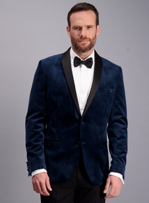Midnight Blue Satin Velvet Slim Fit Jacket