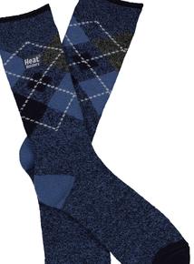 Heat Holders Denim Blue Argyle Thermal Socks
