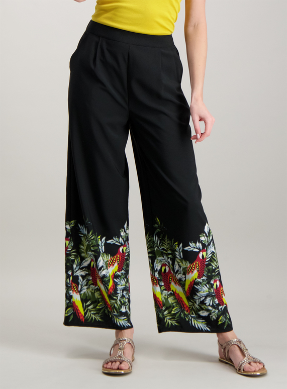 womens black tropical print palazzo trousers  tu clothing