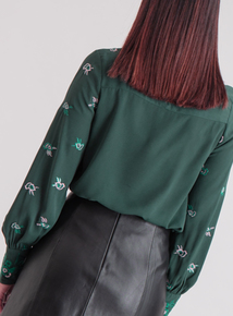 Premium Online Exclusive Green Floral Embroidered Blouse