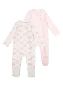 2 Pack Pink Sleepsuits (0-24 months)