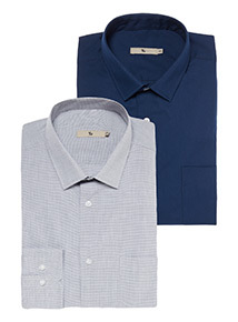 Grey and Navy Tailored Fit 2 Pack Shirts