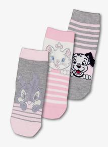 Disney Animal Pink & Grey Socks 3 Pack (3 Infant - 5.5 Adult)