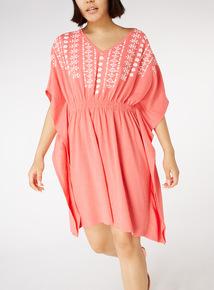 Online Exclusive Coral Floral Textured Kimono Dress