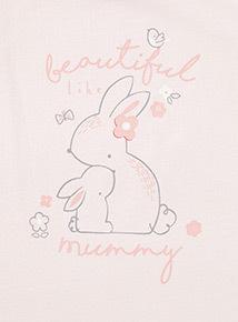 Pink 'Beautiful Like Mummy' Bunny Print T-Shirt  (Newborn - 12 months)