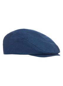 Navy Linen Mix Flat Cap
