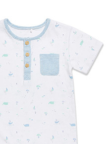 White Boat and Whale Print Romper (Newborn-12 month)