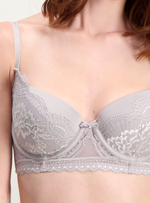 3fd451d1bb Grey Two Tone Lace Balcony Bra