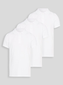 White Scallop Shape Collar Polo Shirts 3 Pack (3-16 years)
