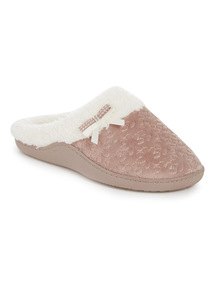 Beige Floral Textured Slippers