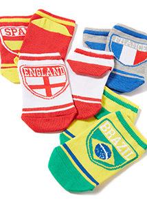 4 Pack Multicoloured World Cup Socks (4 infant-5.5 adult)