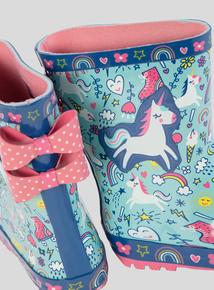 Multicoloured Unicorn Wellies (6 Infant-4 Child)