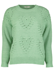 Green Bobble Heart Jumper