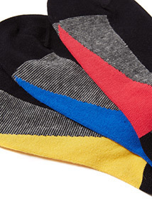 7 Pack Black Fine Stripe Stay Fresh Socks