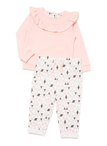 Pink Ruffle Sweater and Joggers Set (0-24 months)
