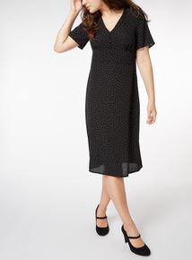 Black Spot Print Tea Dress