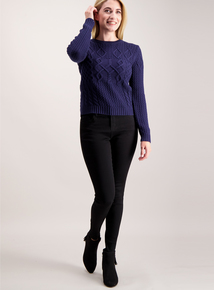 Navy Patchwork Cable Jumper