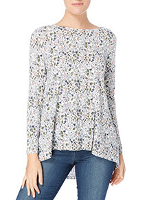 Multicoloured Floral Gathered Top