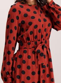Dark Orange Spotted Tea Dress