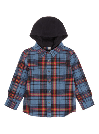Multicoloured Hooded Check Shirt (3-14 years)