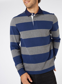 Navy and Grey Striped Rugby Shirt