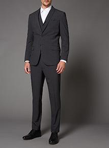 Charcoal Melange Stretch Slim Fit Waistcoat
