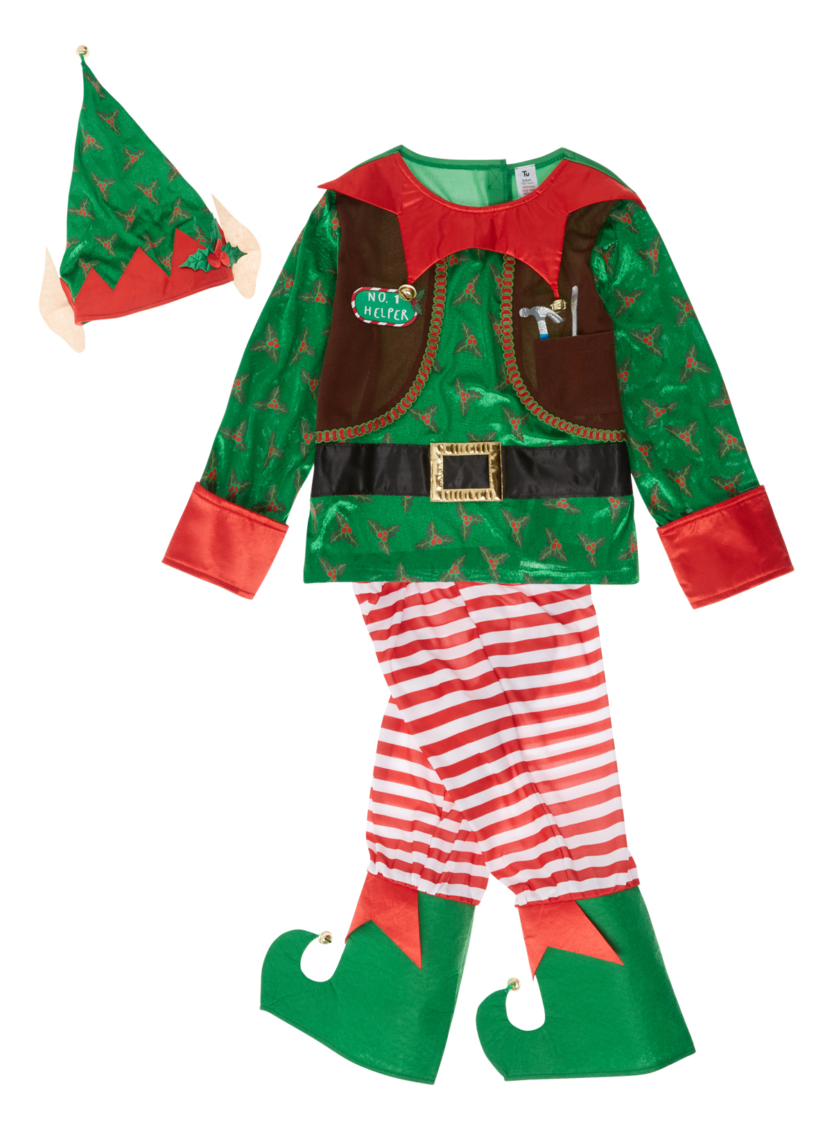 All Boy's Clothing Kids Green Christmas Elf Outfit (1-10 years ...