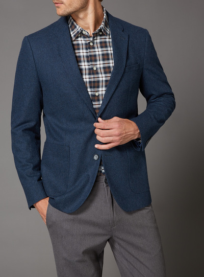 Blue Flannel Wool Mix Jacket