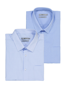 Blue Easy Iron Tailored Fit Short Sleeved Shirts 2 Pack