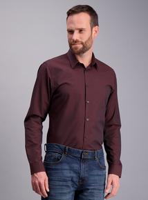 Online Exclusive Burgundy Slim Fit Textured Shirt