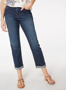 Laser Print Girlfriend Jeans
